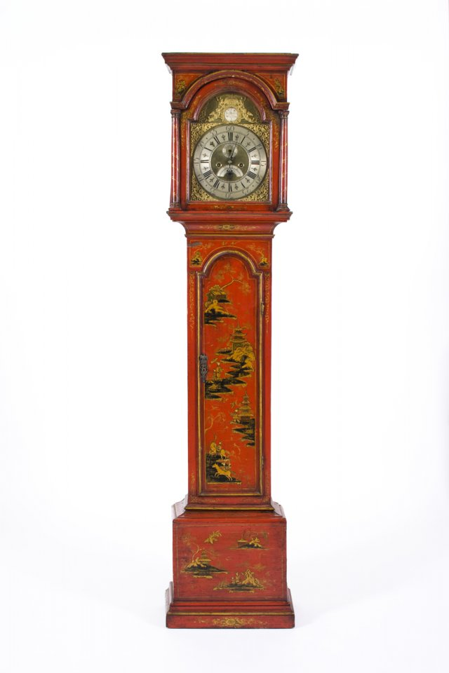 An 18th century red lacquered English long case clock