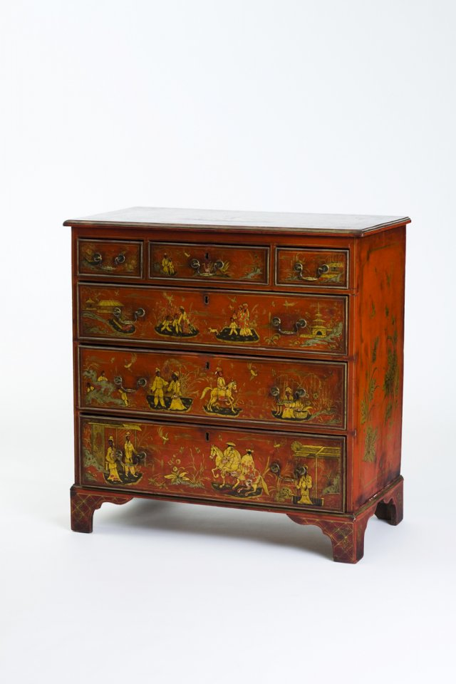 An 18th century red lacquered English commode
