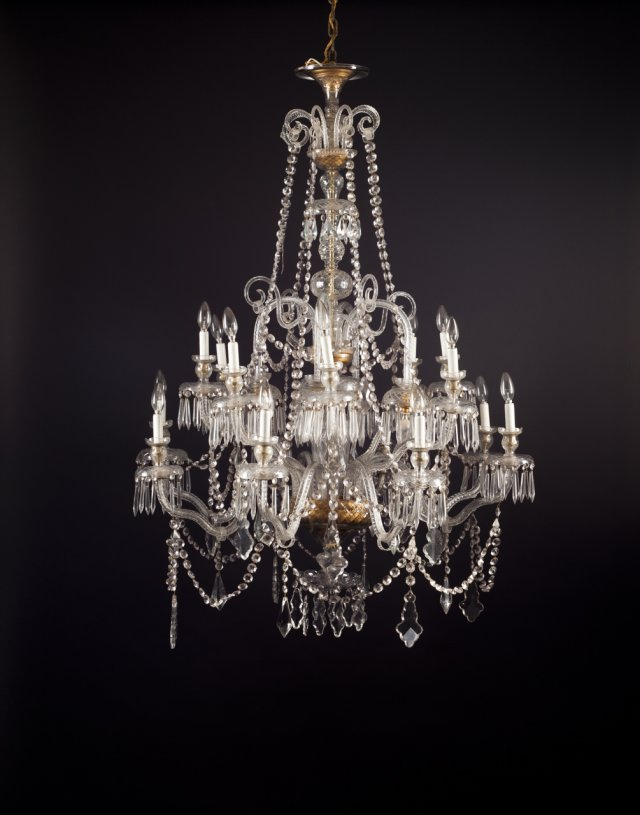 A large cut glass chandelier