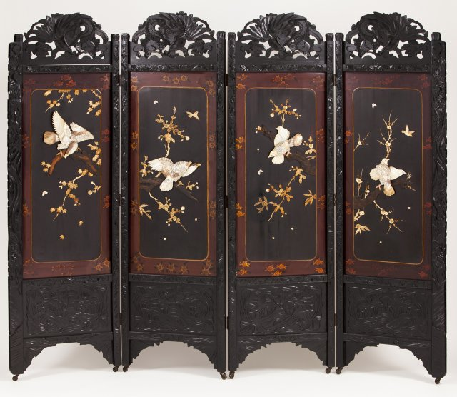 A 19th century Chinese four panel folding screen
