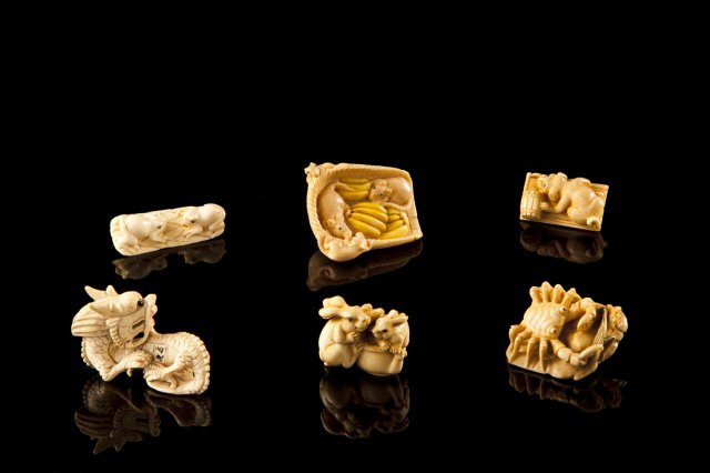 Six late 19th, early 20th century ivory netsukes