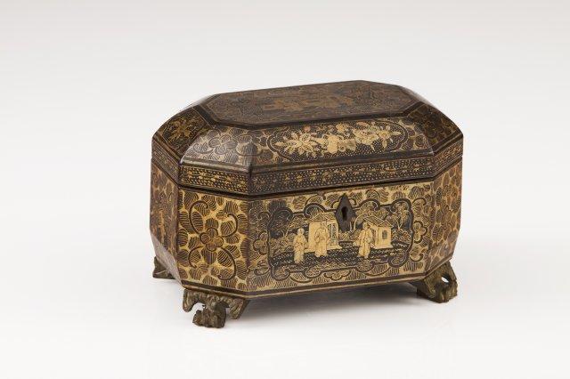 Caixa de chá chinesa do séc. XIX