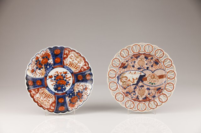 A Meiji porcelain scalloped dish