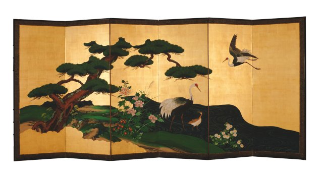 A 19th century six-panel folding screen