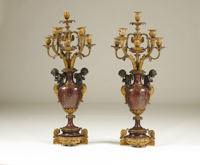 A pair of Napoleon III eight-light candelabra