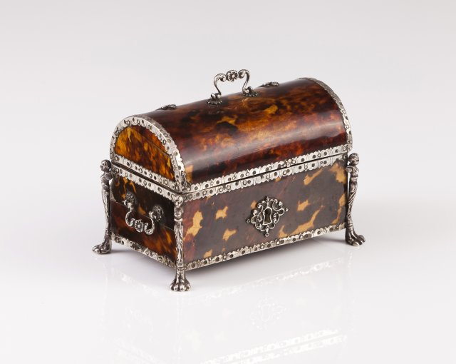 A late 16th, early 17th century tortoiseshell and silver coffer
