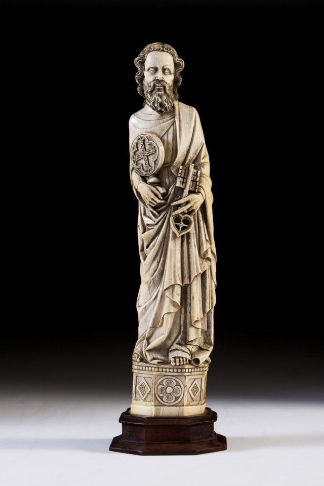 A 19th century ivory sculpture of Saint Peter