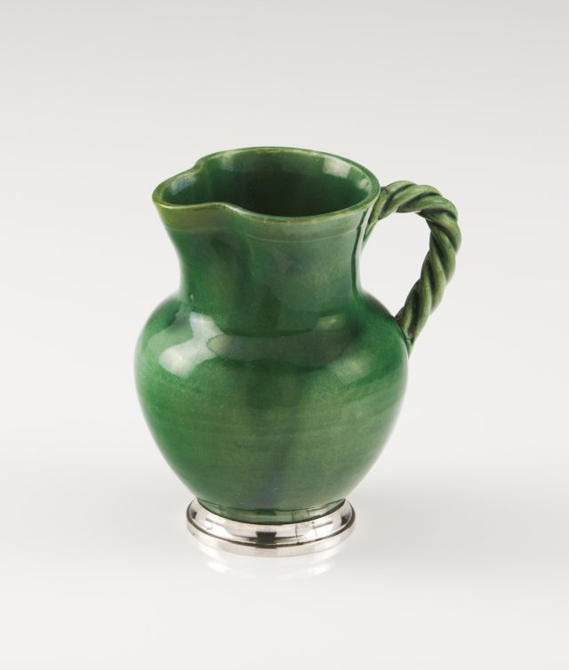 A Portuguese silver-mounted Caldas ceramic jar