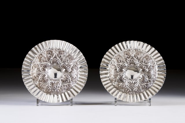 A pair of Portuguese silver salvers, JOALHARIA DO CARMO