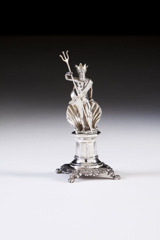 "A 19th century Portuguese silver toothpick holder ""Neptun"