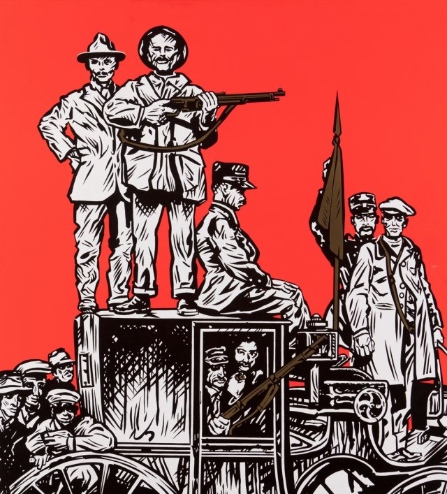 Os revolucionários após a vitória passeiam-se de carro