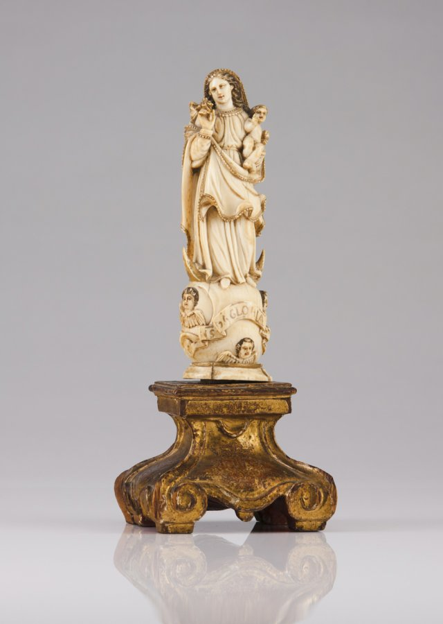 A 17th century Indo-Portuguese carved ivory sculpture of Our Lady of the Conception