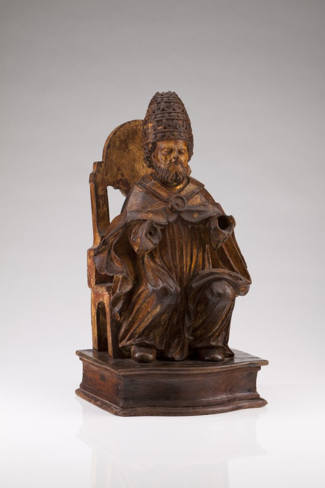 A 17th century Portuguese sculpture of Saint Peter, the Pope
