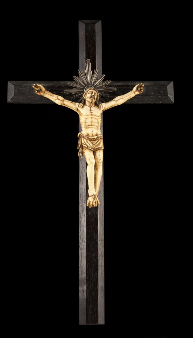 A 19th century ivory sculpture of Christ