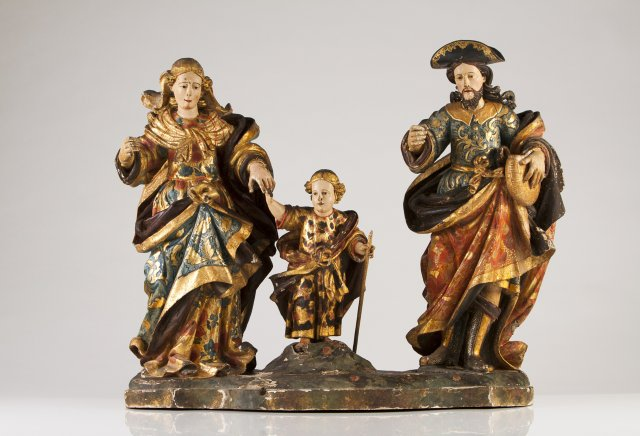 An important late 17th, early 18th century Portuguese group sculpture of the Holy Family.