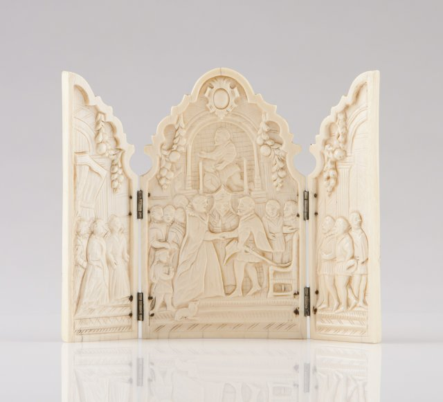 A French 19th century carved ivory triptych