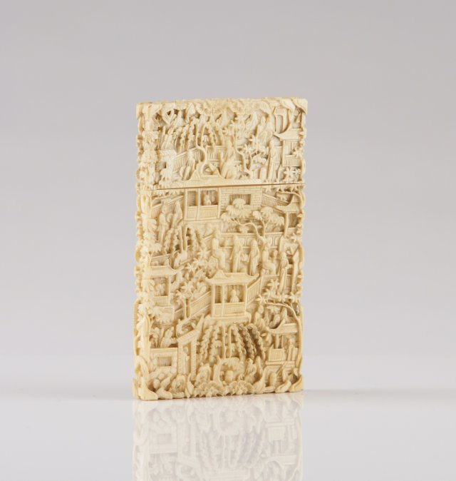 A 19th century Chinese carved ivory card box