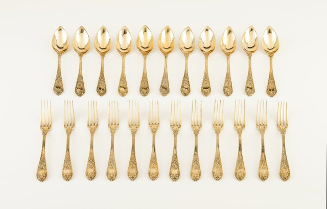 A set French silver table service of flatware, 1819-1838