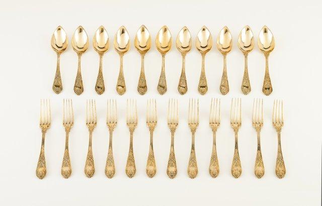 Conjunto de 12 garfos e 11 colheres Império