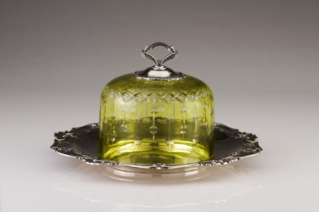 A Portuguese silver and glass Bélle-Époque cheese bell jar