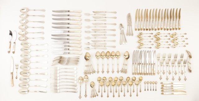 A late 19th, early 20th century French silver service of flatware of 24