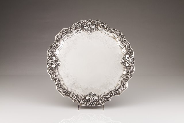 A Portuguese silver salver in the D.José manner