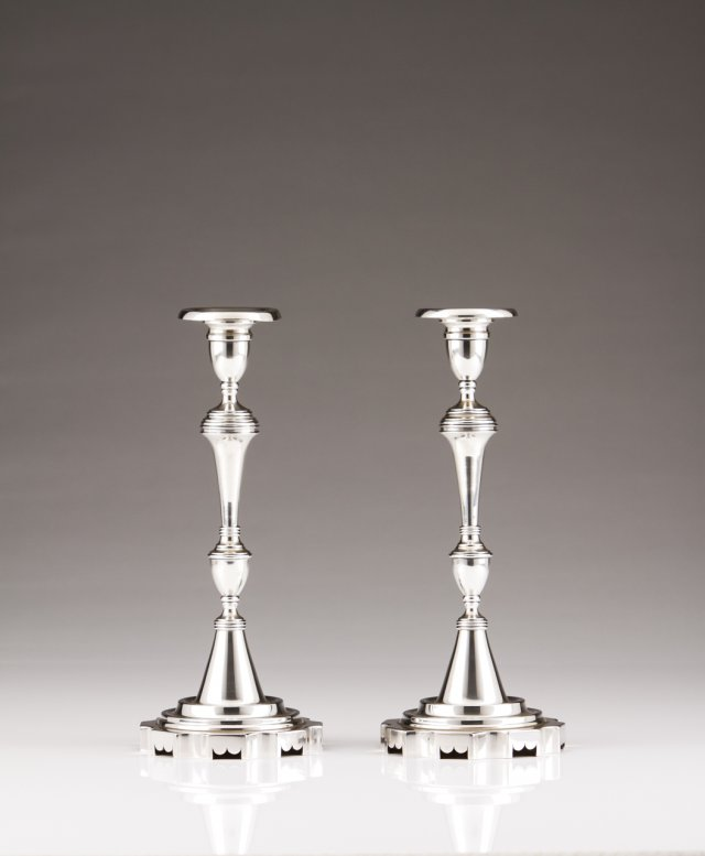 A pair of Portuguese silver candlesticks