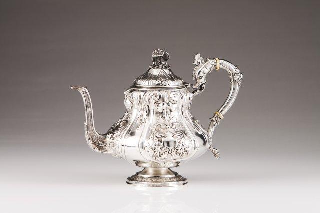 A romantic Portuguese silver teapot