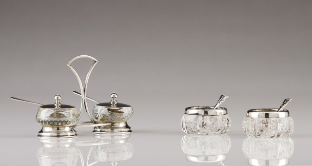 A set of Portuguese silver salt and pepper cellars