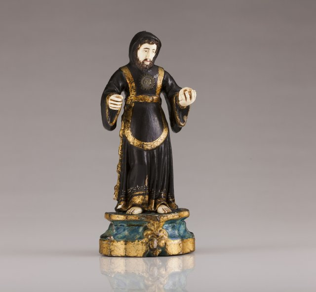 A late 18th, early 19th century Indo-Portuguese sculpture of Saint Francis of Assisi