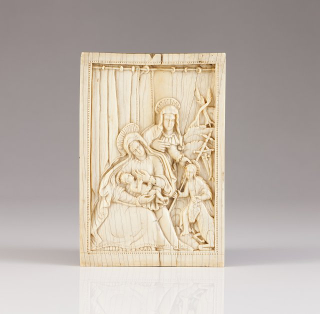 A 17th century Cingalo-Portuguese ivory plaque representing Our Lady and Saint Elizabeth with Child Jesus and Saint John the Baptist
