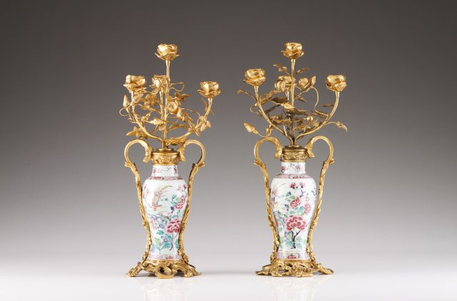 A pair of Qianlong gilt-bronze mounted jars