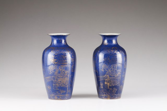 A pair Kangxi Powder Blue jars