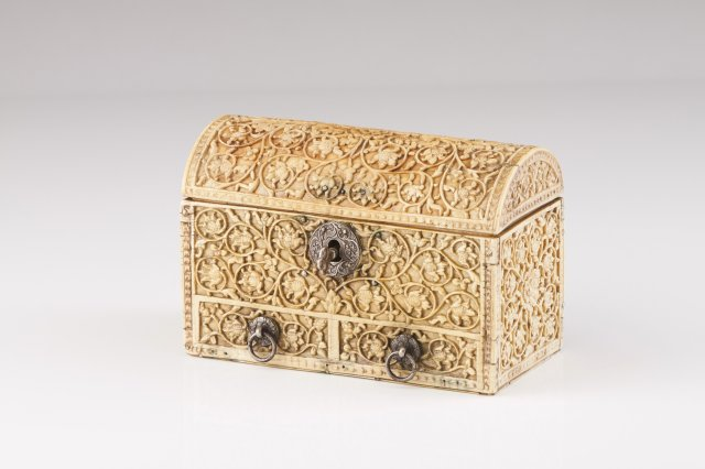 A 17th century Cingalo-Portuguese silver-mounted ivory coffer