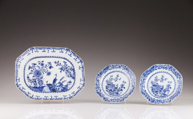A pair of Qianlong octogonal plates