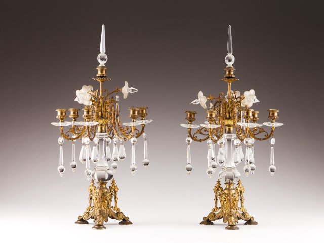 A pair of 19th century French gilt bronze and glass girandoles
