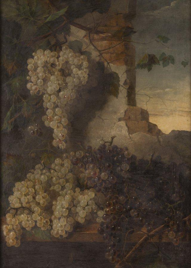Natureza morta com uvas e ruínas