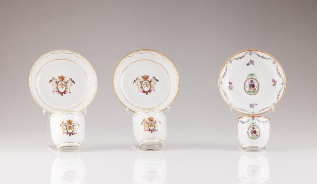 A pair of Qianlong cups and saucers
