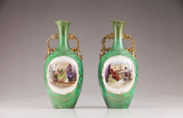 A pair of late 19th, early 20th century German porcelain vases