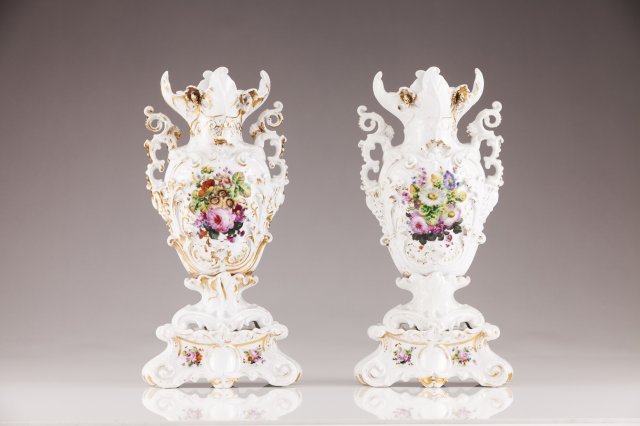 A pair of 19th century European porcelain vases