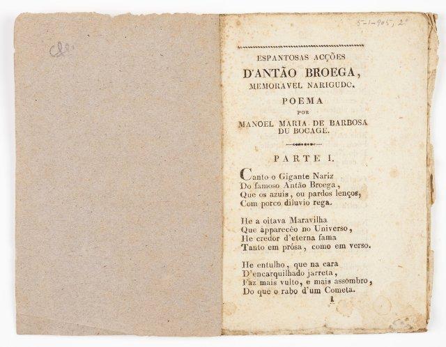 BOCAGE, Manuel Maria Barbosa du, 1765-1805