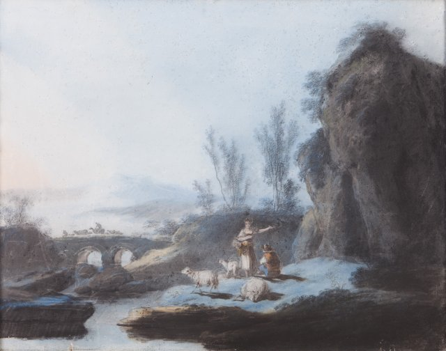 Riverscapes with figures and animals