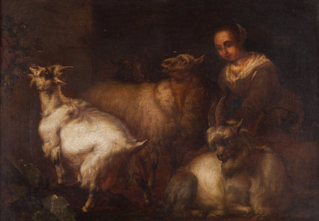 Stable interior with shepherd and animals