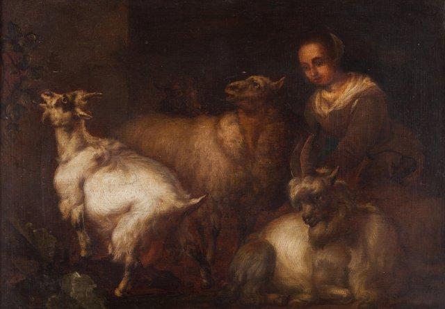 Interior de estábulo com pastora e animais
