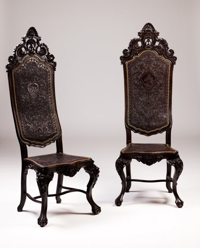 A pair of 19th century rosewood tall-back chairs