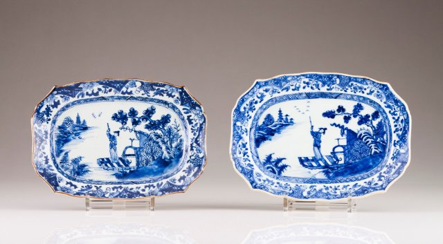 A pair of Qianlong scalloped dishes
