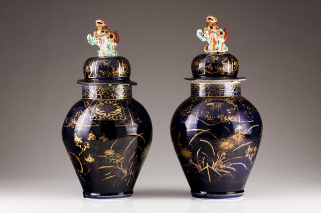 A pair of Sanson baluster vases