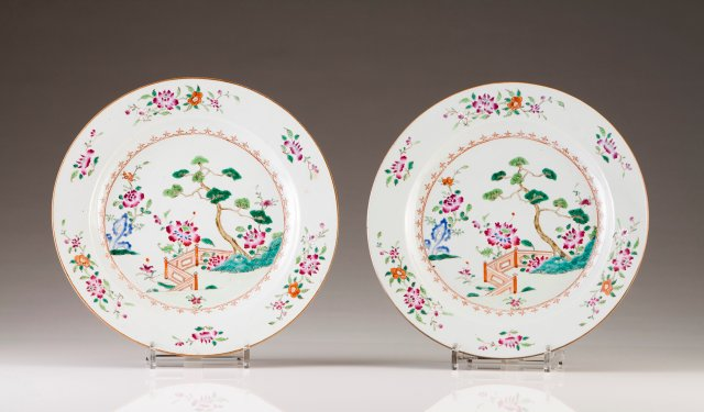 A pair of large plates