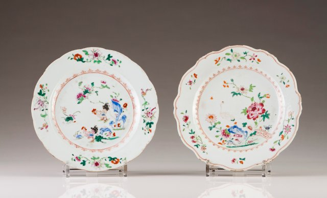 Two scalloped plates