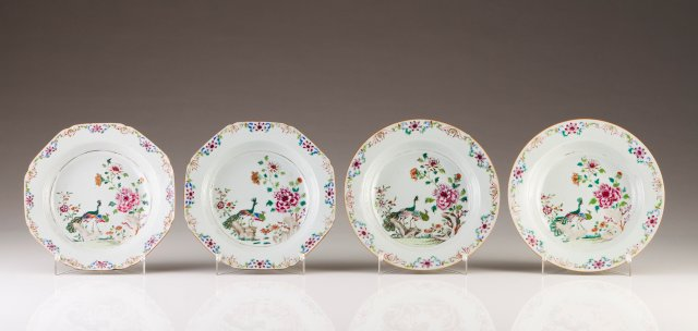 A pair of octagonal soup plates